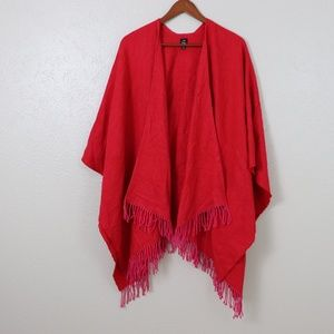 Echo Design Red Boucle Ruana Wrap